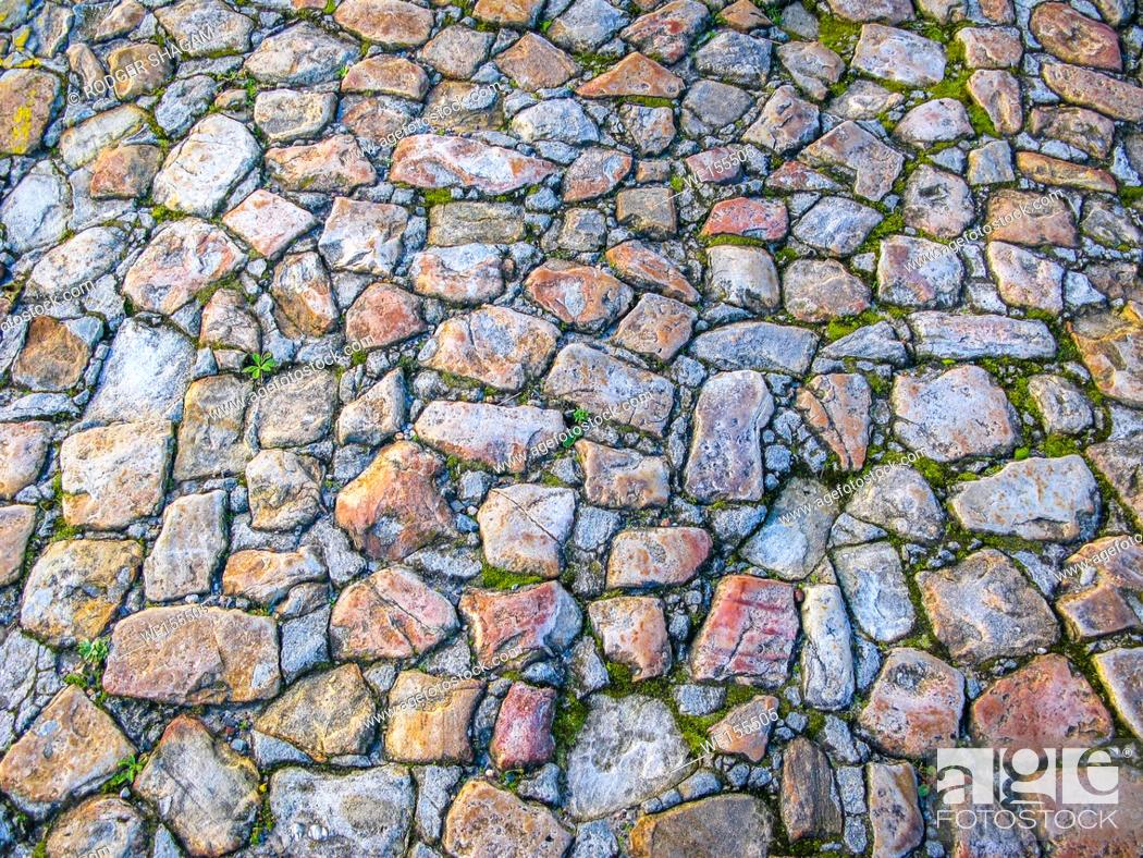 Stock Photo: Very old cobble-stoned road imbedded with moss. Cape Town, South Africa.
