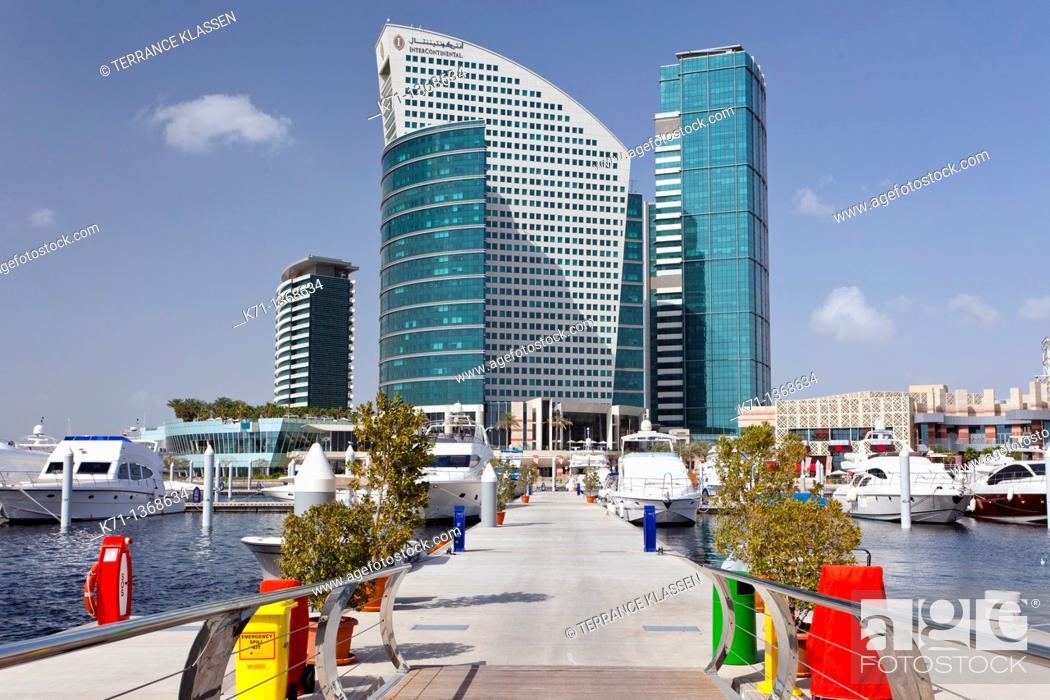 Stock Photo: The Festival City marina with the Intercontinental Hotel in Dubai, UAE, Persian Gulf.