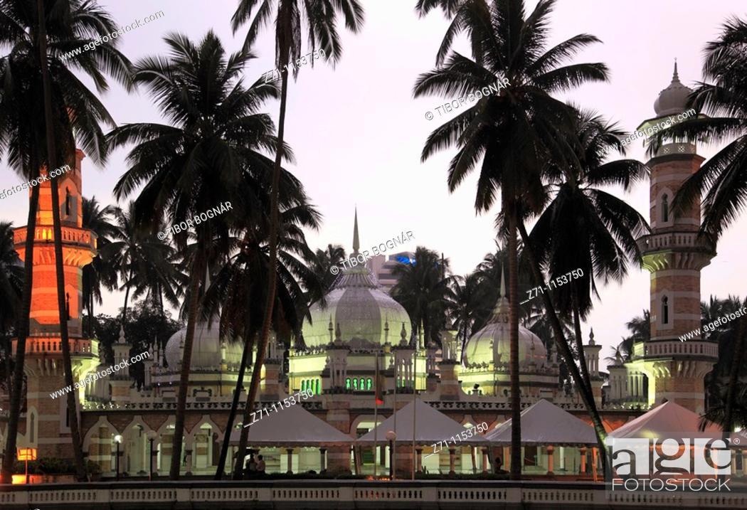 Stock Photo: Malaysia, Kuala Lumpur, Masjid Jamek Mosque,.