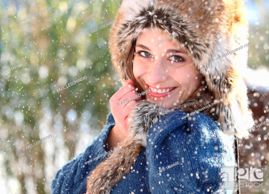 Stock Photo: woman snow winter portrait.