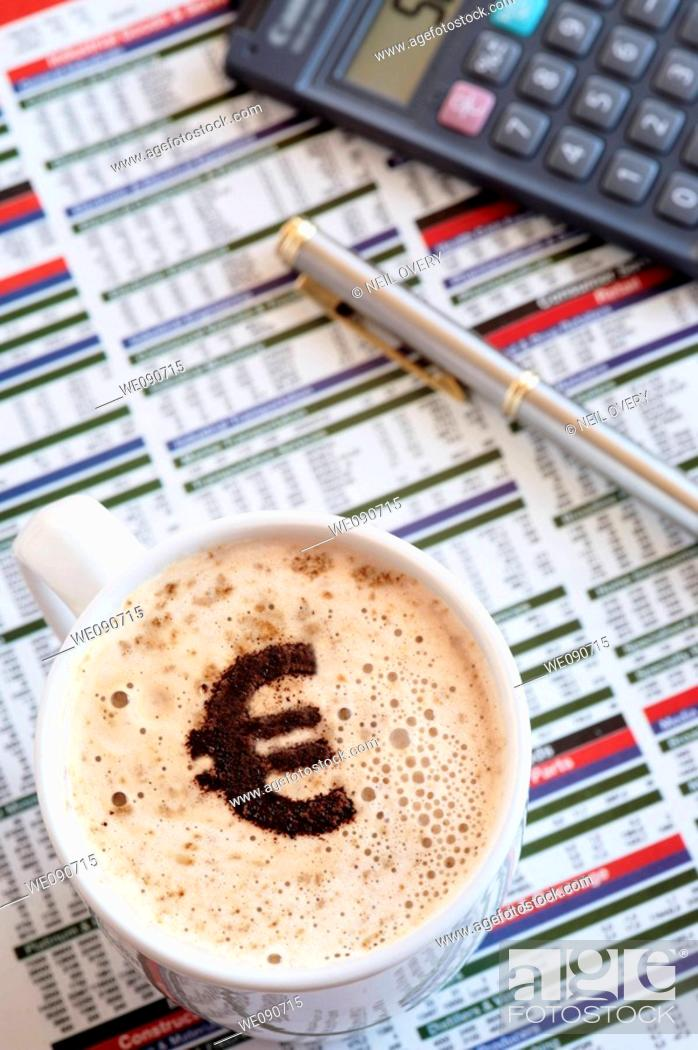 Stock Photo: Coffee with Euro Sign.