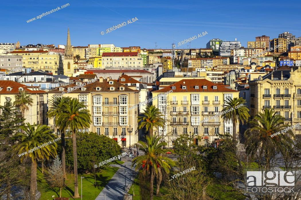 Stock Photo: Panoramic view, urban center of Santander city. Cantabria, north Spain. Europe.