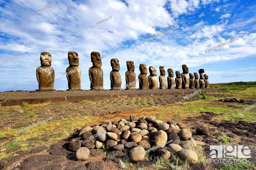 Stock Photo: Chile, Easter Island, Rapa Nui, view of the 15 moai statues at Ahu Tongariki.