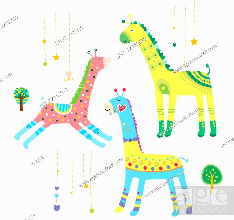 Stock Photo: Close-up of giraffes.