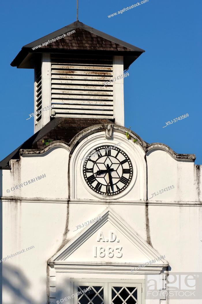 Stock Photo: Clock tower, Brooke Monument, Main Bazaar, Old town Kuching, Kuching, Sarawak, Borneo.