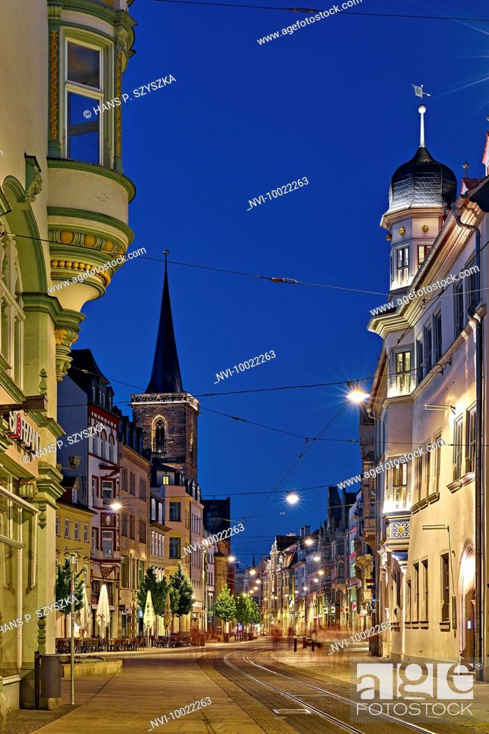 Stock Photo: View from the Neuwerkstraße to the Anger with Bartholomew tower, Erfurt, Thuringia, Germany.
