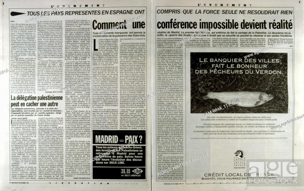 Stock Photo: French publication 'L'Evenement' reporting on the Madrid Conference; a peace conference, held from 30 October to 1 November 1991 in Madrid.