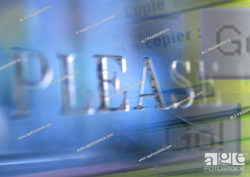 Stock Photo: 'Please' typography overlaying computer commands, montage.
