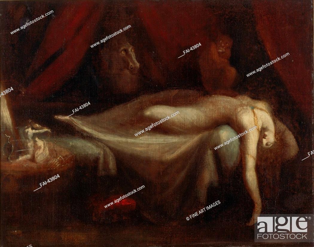 Stock Photo: The Nightmare by Füssli (Fuseli), Johann Heinrich (1741-1825)/Oil on canvas/Classicism/1810/Schwitzerland/Private Collection/75x95/Mythology.