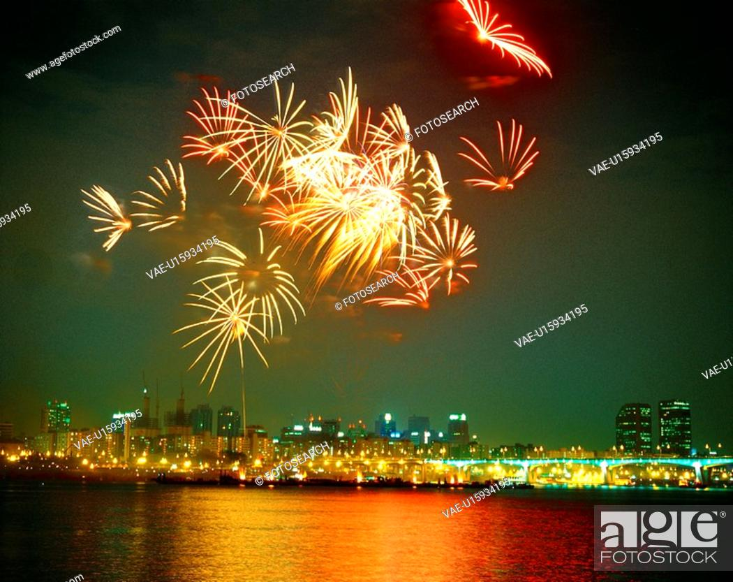 Stock Photo: nightview, fireworks, building, city, event, scenery, river.