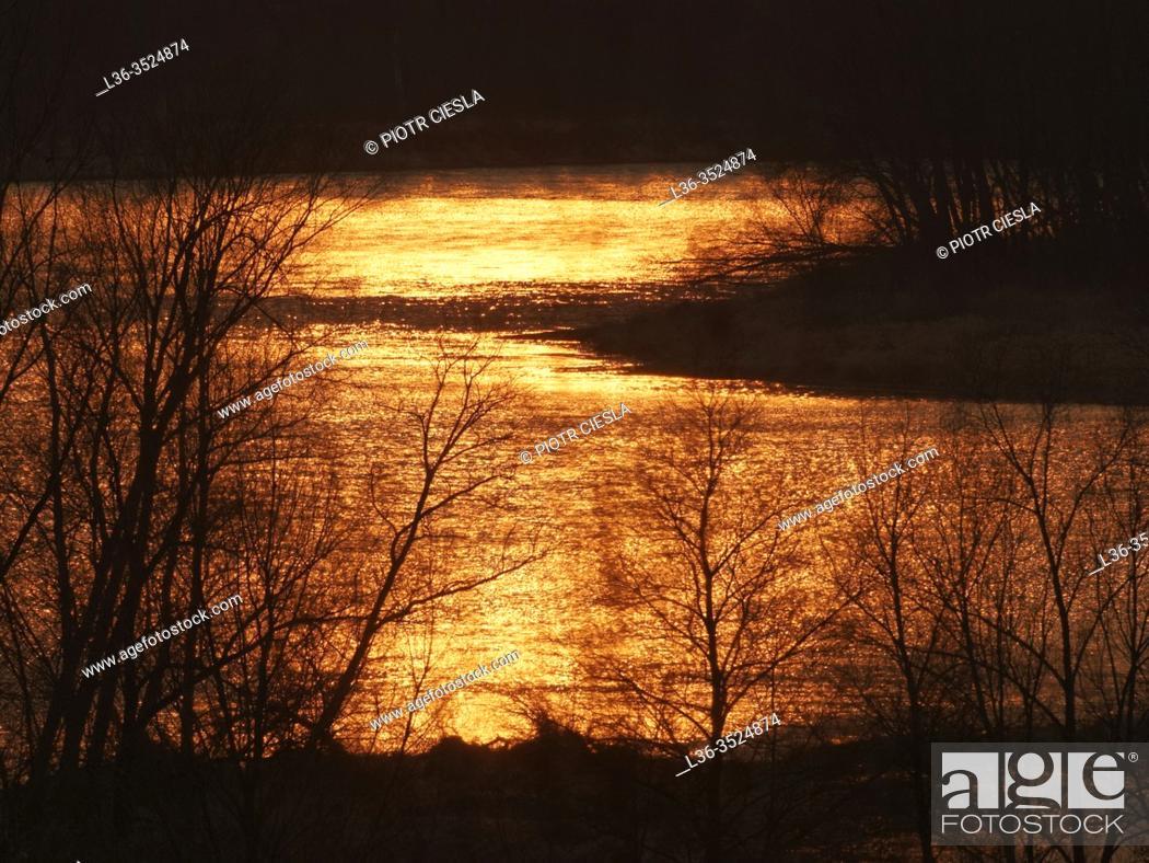 Stock Photo: Sunset on the river Bug. Podlasie region. Poland.