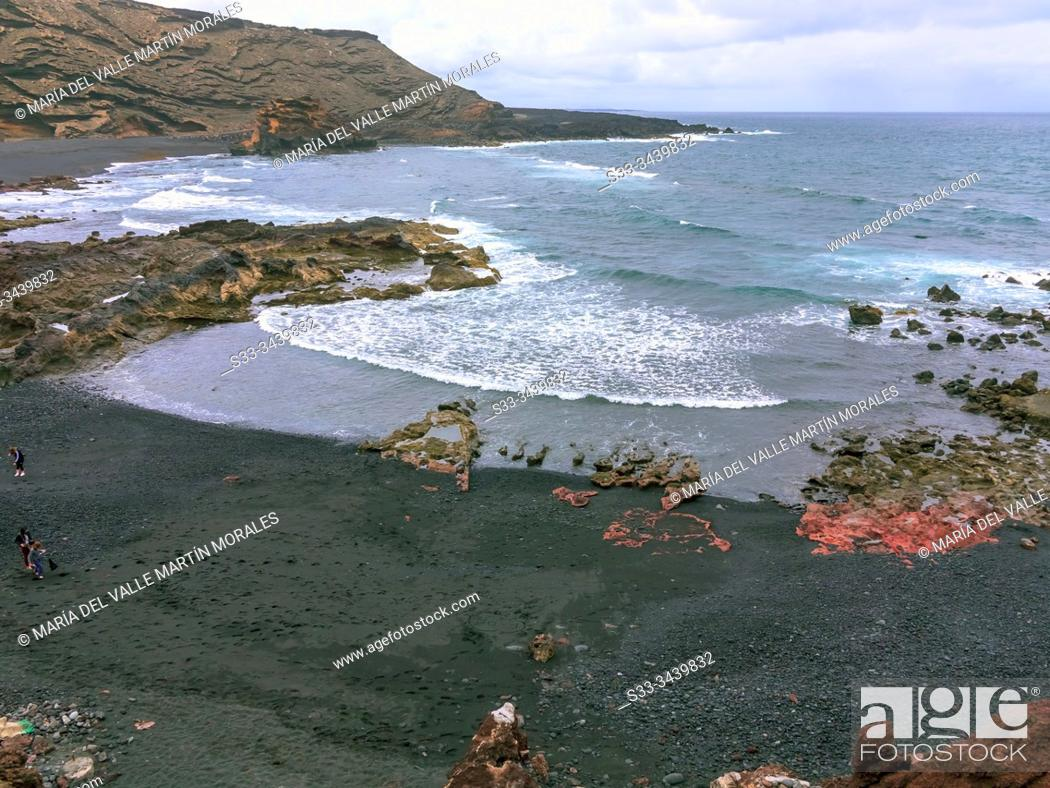 Stock Photo: Golfo Beach in Lanzarote. Canary Islands. Spain. Europe.