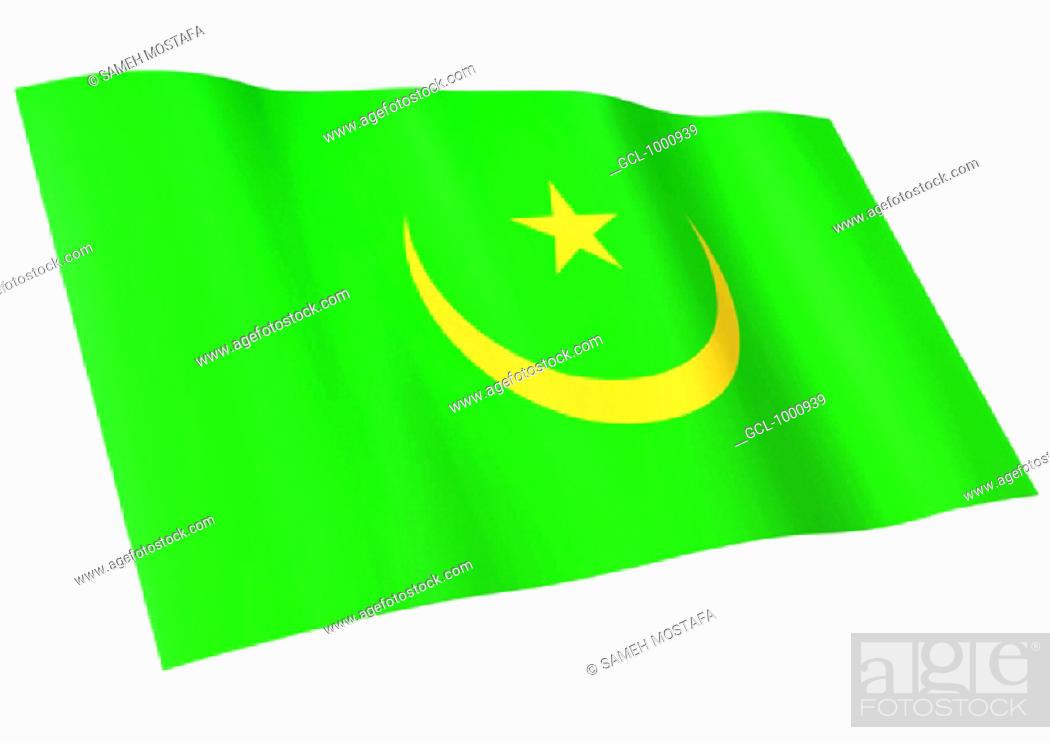 Stock Photo: flag of Mauritania.