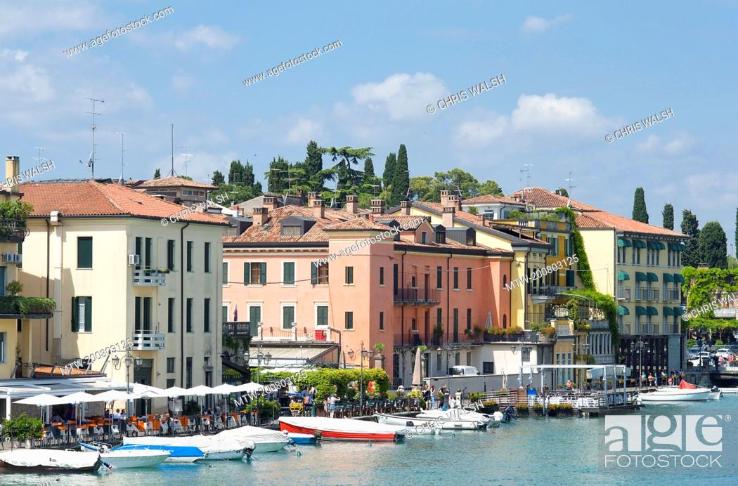 Stock Photo: Peschiera lake Garda Italy hotels boats summer.