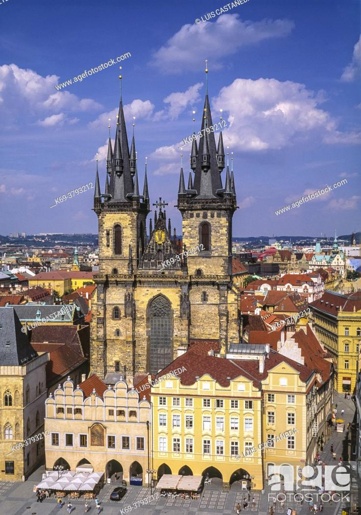 Stock Photo: The Church of Mother of God before Týn often translated as Church of Our Lady before Týn, is a gothic church and a dominant feature of the Old Town of Prague.