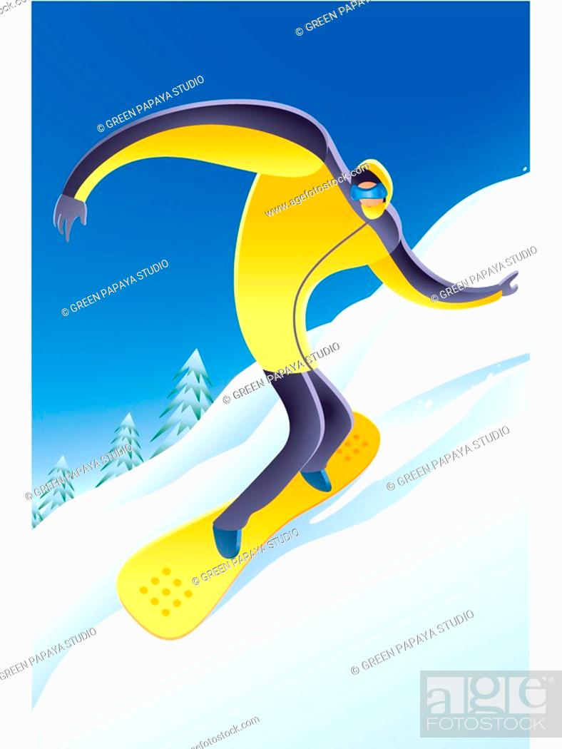 Stock Photo: Illustration of a man snowboarding.