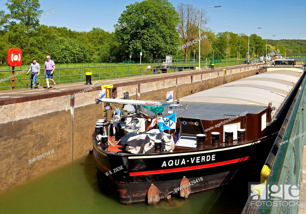 Stock Photo: lock Bevergern with barge, Dortmund Ems Canal, Germany, North Rhine-Westphalia, Muensterland, Hoerstel.