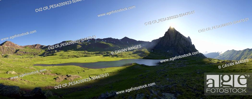 Stock Photo: Anayet Peak and lake in Tena Valley, Huesca province in Aragon, Pyrenees in Spain.