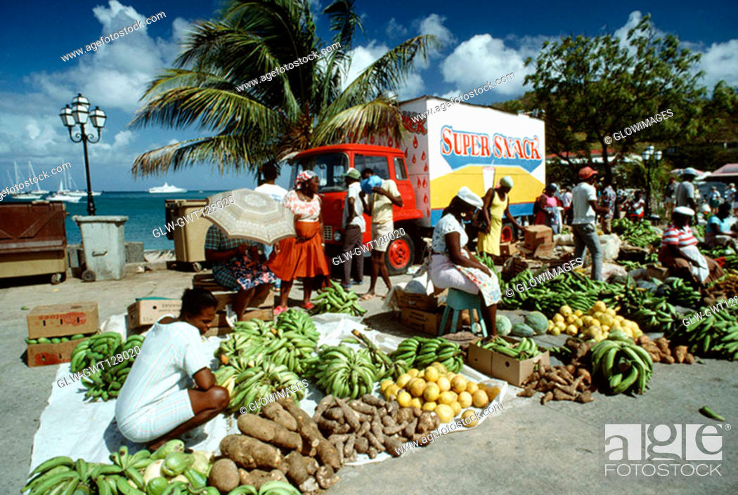 Stock Photo: People putting up their commodities for sale, St. Martin.