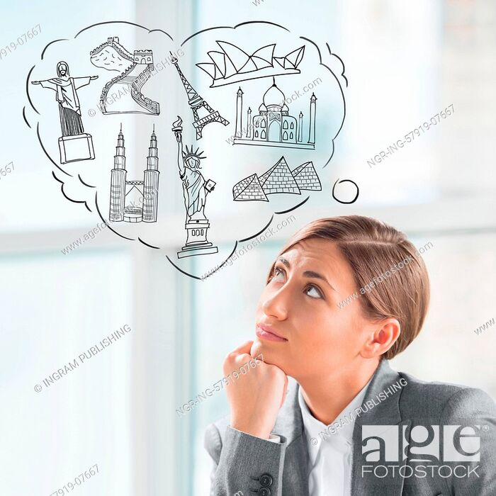 Stock Photo: Young pretty business woman dreaming about vacation and her trip to famous touristic destination. Architecture symbols overhead.