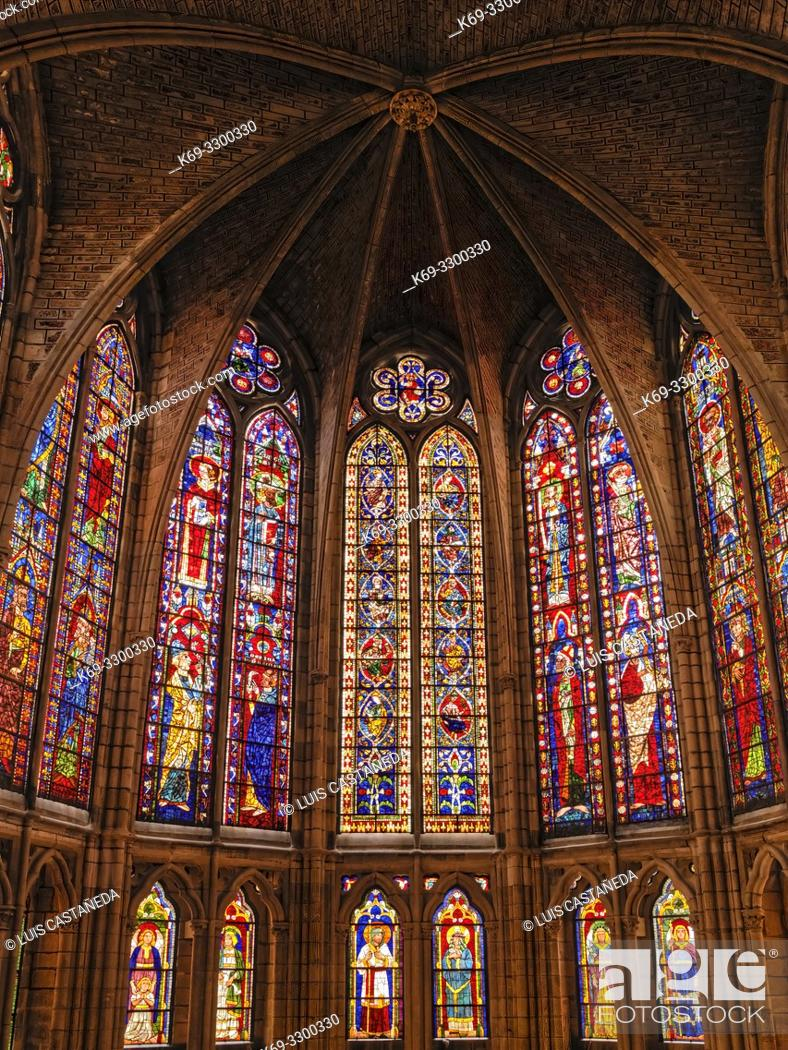 Stock Photo: Glassworks. The Cathedral of Santa Maria. Leon. Spain.