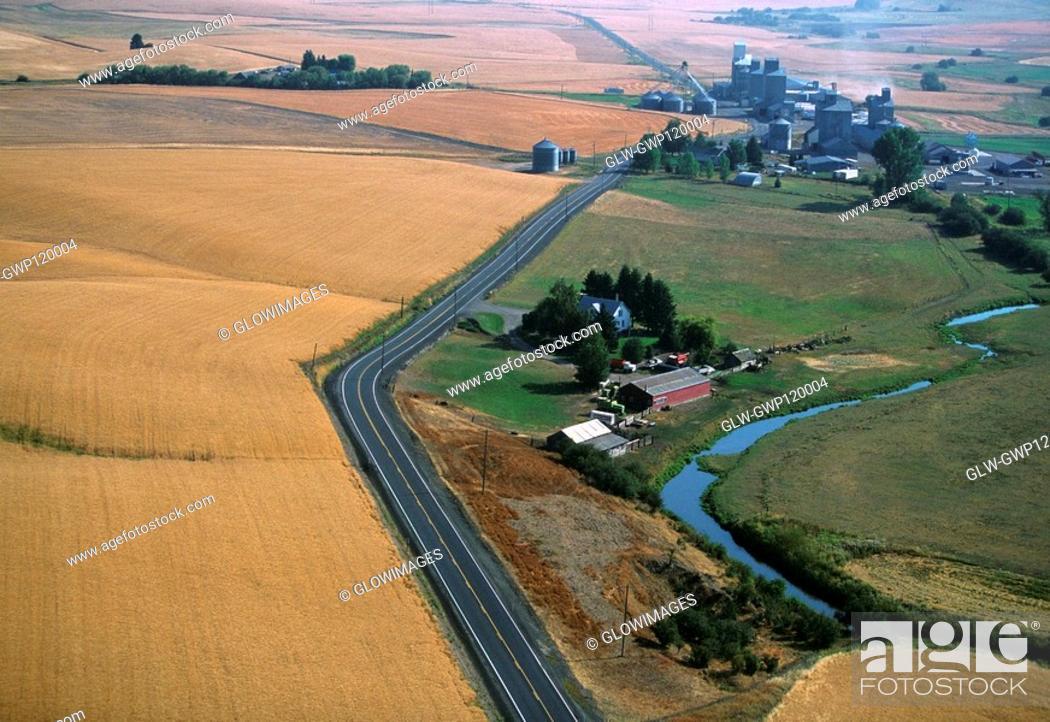 Stock Photo: Aerial, Farm country, Washington State.