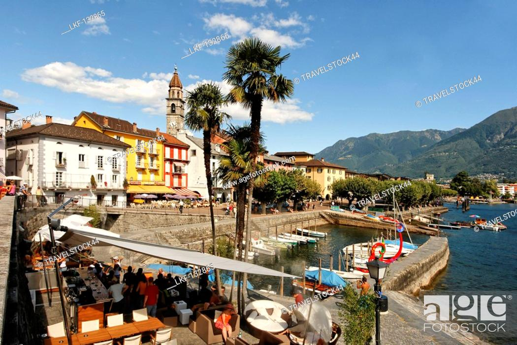 Stock Photo: Switzerland, Ticino, Ascona Lounge at lake promenade.