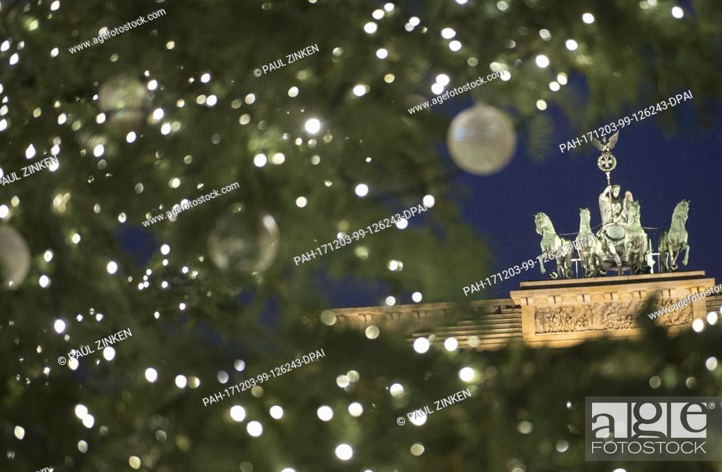 Stock Photo: The Christmas tree shines bright in front of the Brandenburg Gate in Berlin, Germany, 03 December 2017. The lights were ignited during a small ceremony.