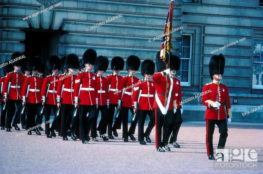 Stock Photo: Guards changing , London , U.K. United Kingdom England.