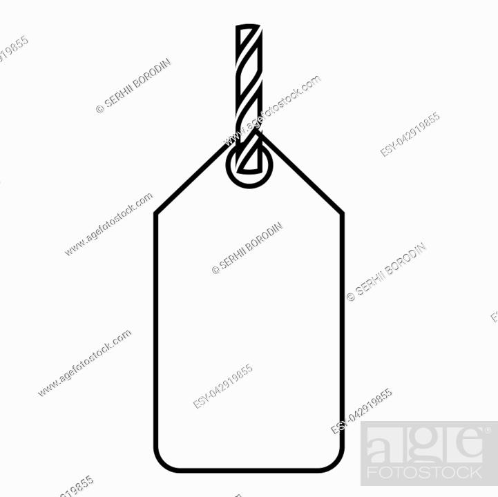 Stock Vector: Label on the rope icon black color vector illustration flat style simple image.