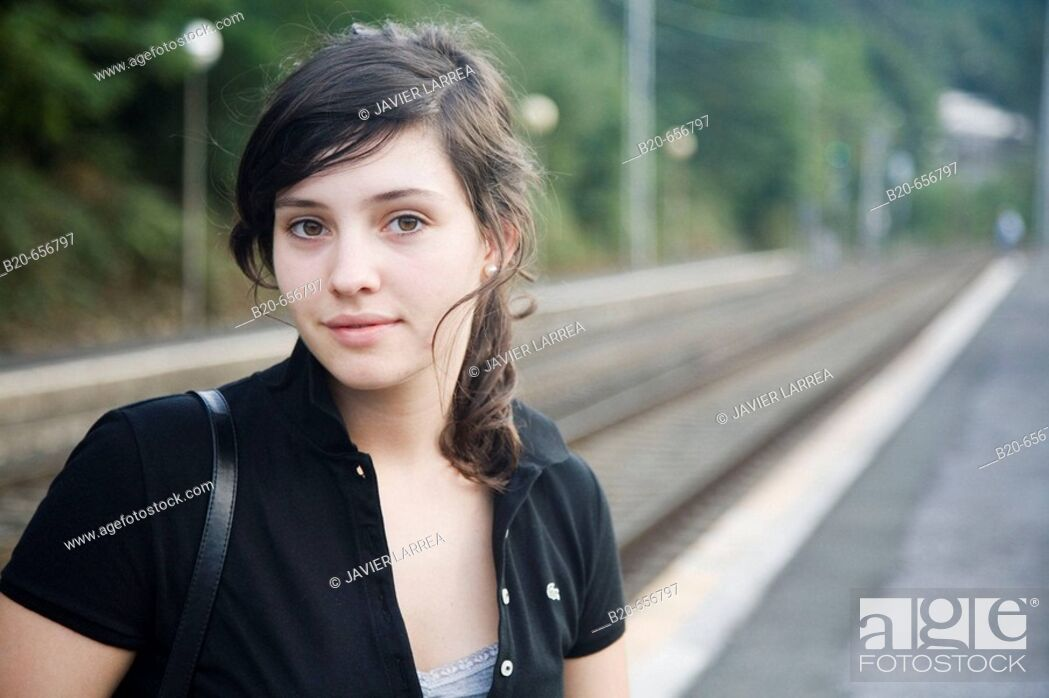 Stock Photo: 18 year old girl at train station. Legazpi, Guipuzcoa, Basque Country, Spain.