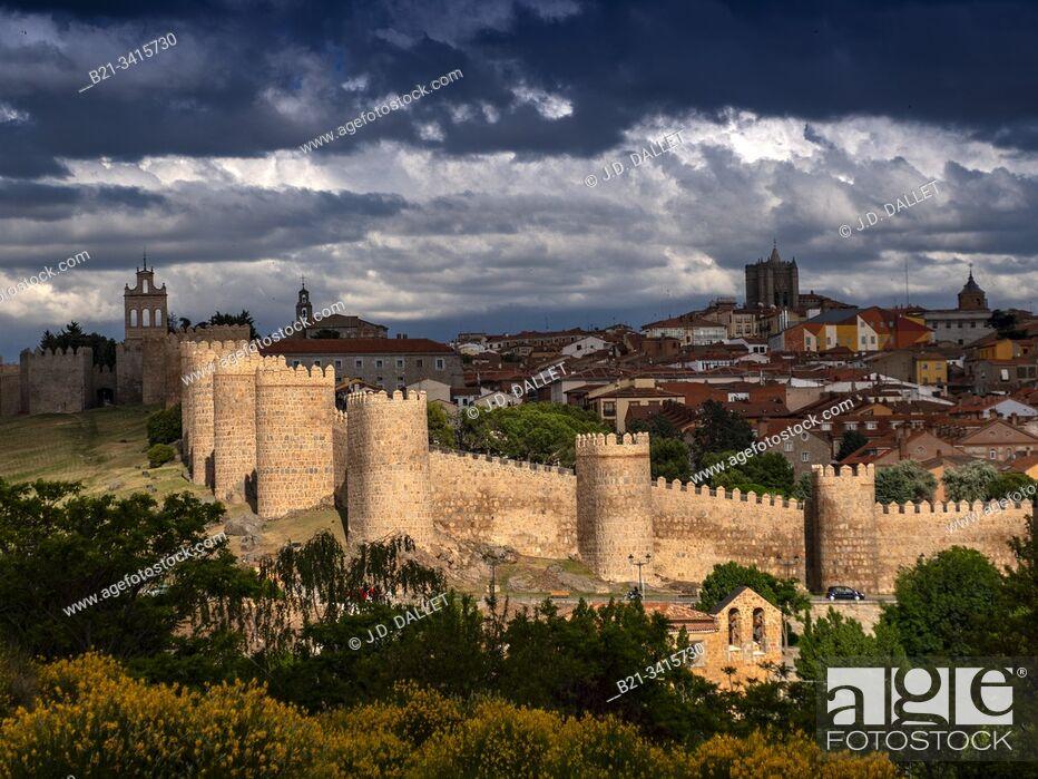 "Stock Photo: Spain, Castilla-Leon, Ávila, the """"walled town"""" of Avila."
