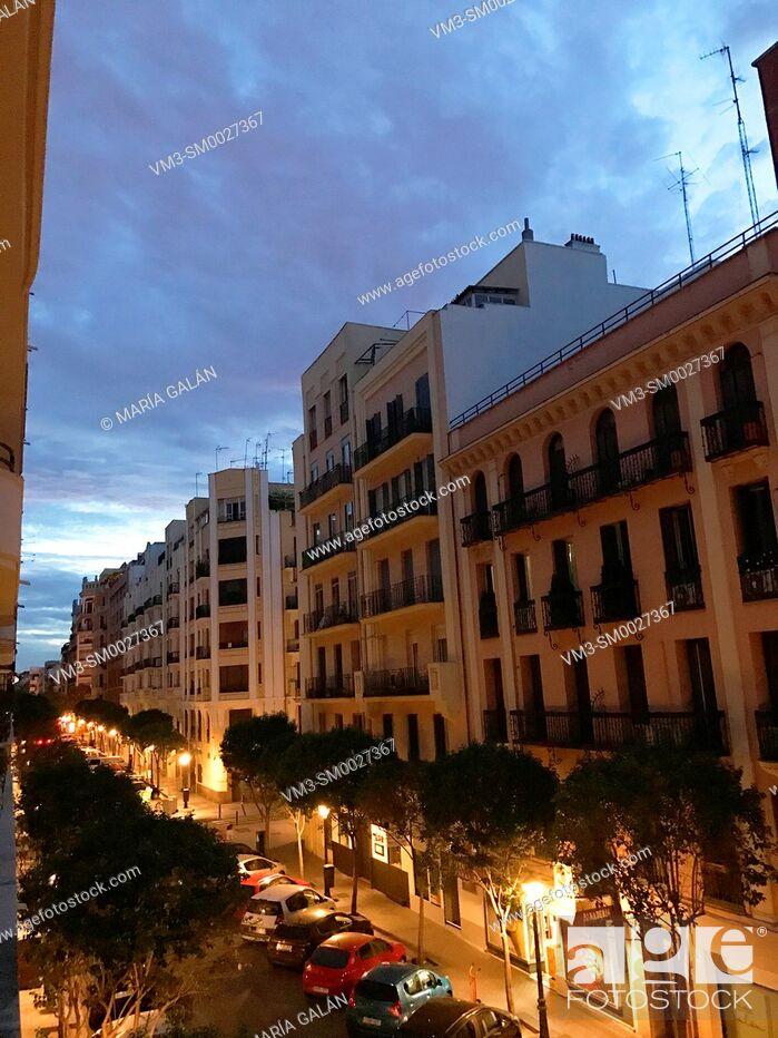 Stock Photo: Street, night view. Madrid, Spain.