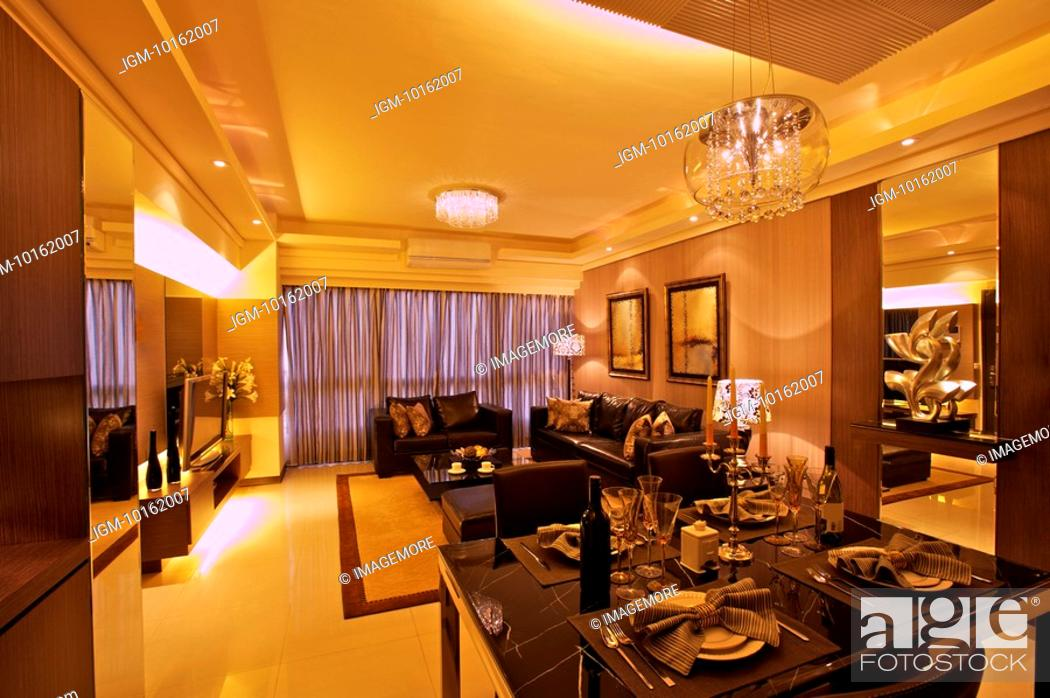 Stock Photo: Interior Design - Dining Room & Living Room.
