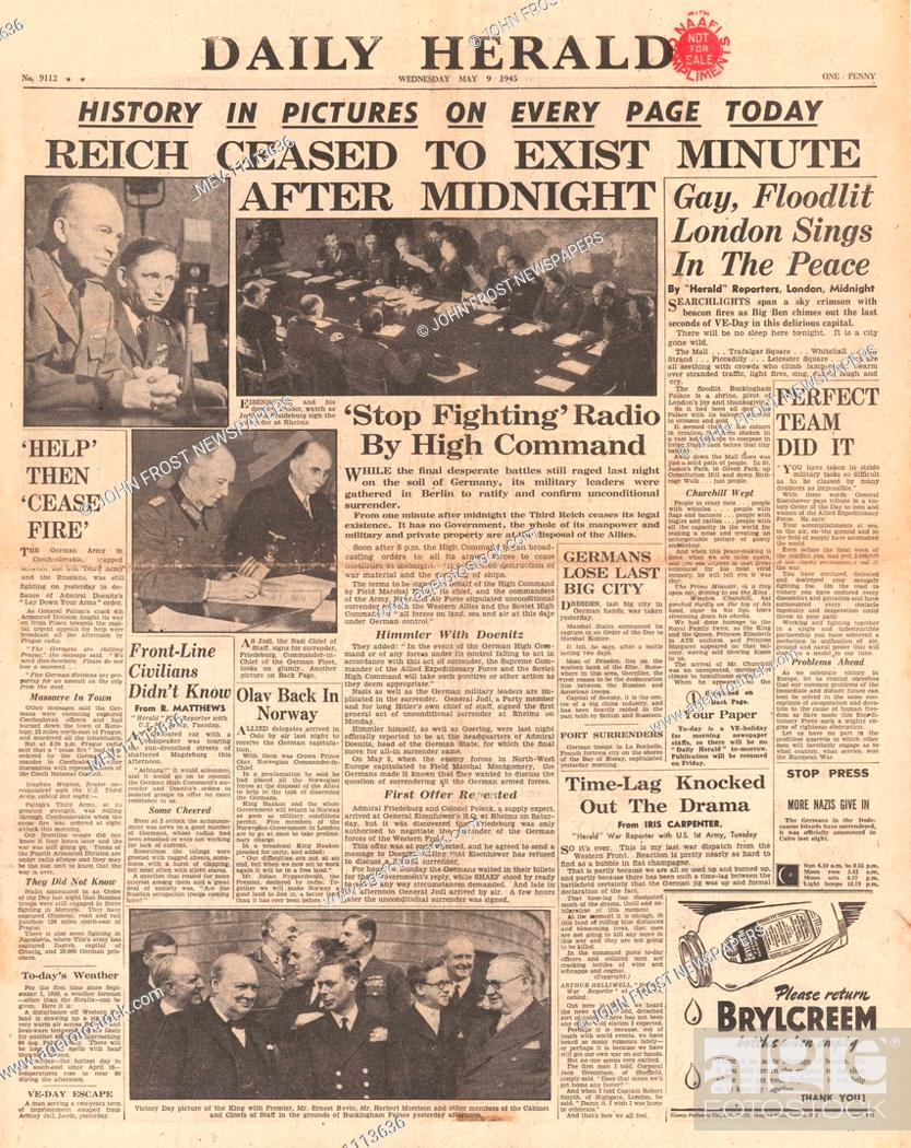 1945 Daily Herald front page reporting End of War in Europe as Nazi