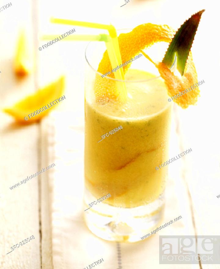 Stock Photo: Orange drink with Aloe vera.