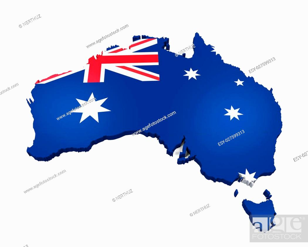 Stock Photo: Map of Australia isolated on white background. 3D render.