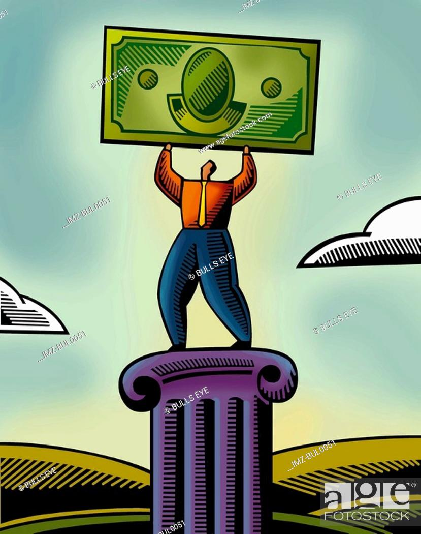 Stock Photo: An illustration of a man lifting a bank note.