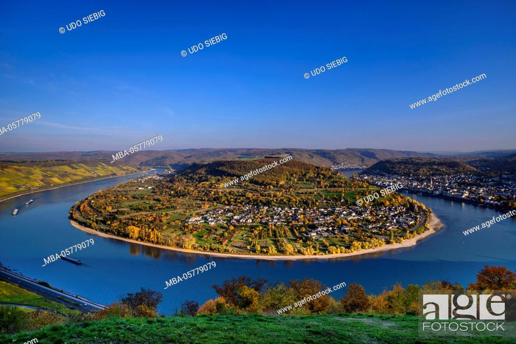 Stock Photo: Germany, Rhineland-Palatinate, upper Middle Rhine Valley, Boppard, Rhine loop, Bopparder Hamm, townscape Filsen and Boppard, view from the Gedeonseck.
