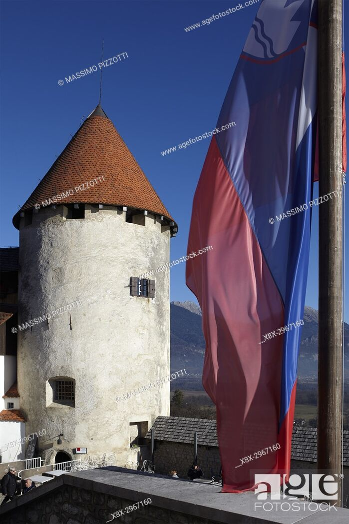 Stock Photo: The tower of the Bled castle, Slovenia.
