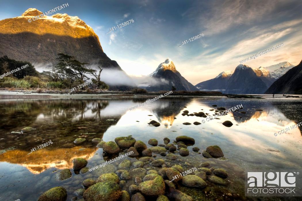 Stock Photo: Mitre peak, winter dawn, Milford Sound, Fiordland National Park.