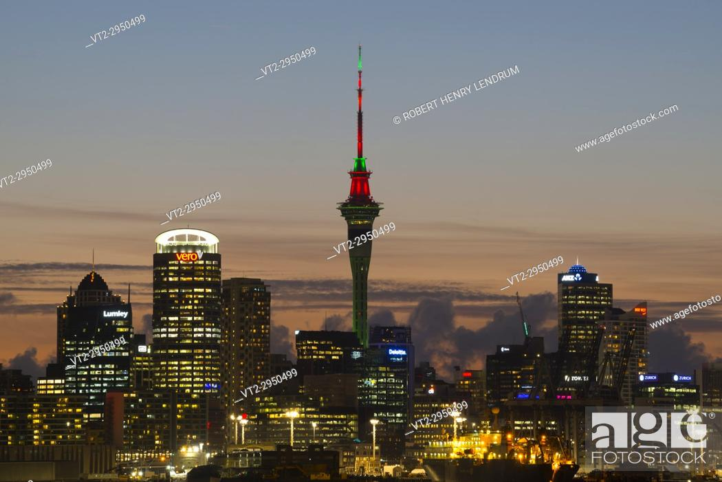 Stock Photo: Auckland Sky Tower, Auckland, New Zealand.