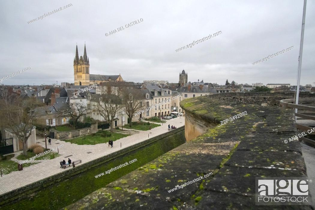 Stock Photo: Angers Loire valley France on December 27, 2019. Panorama from the fortress by night.