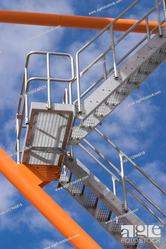 Stock Photo: staircase, up, down, iron, ascending, descending.