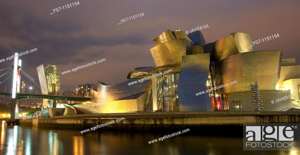 Stock Photo: Panoramic of Guggenheim museum, Bilbao, Bizkaia, Spain.