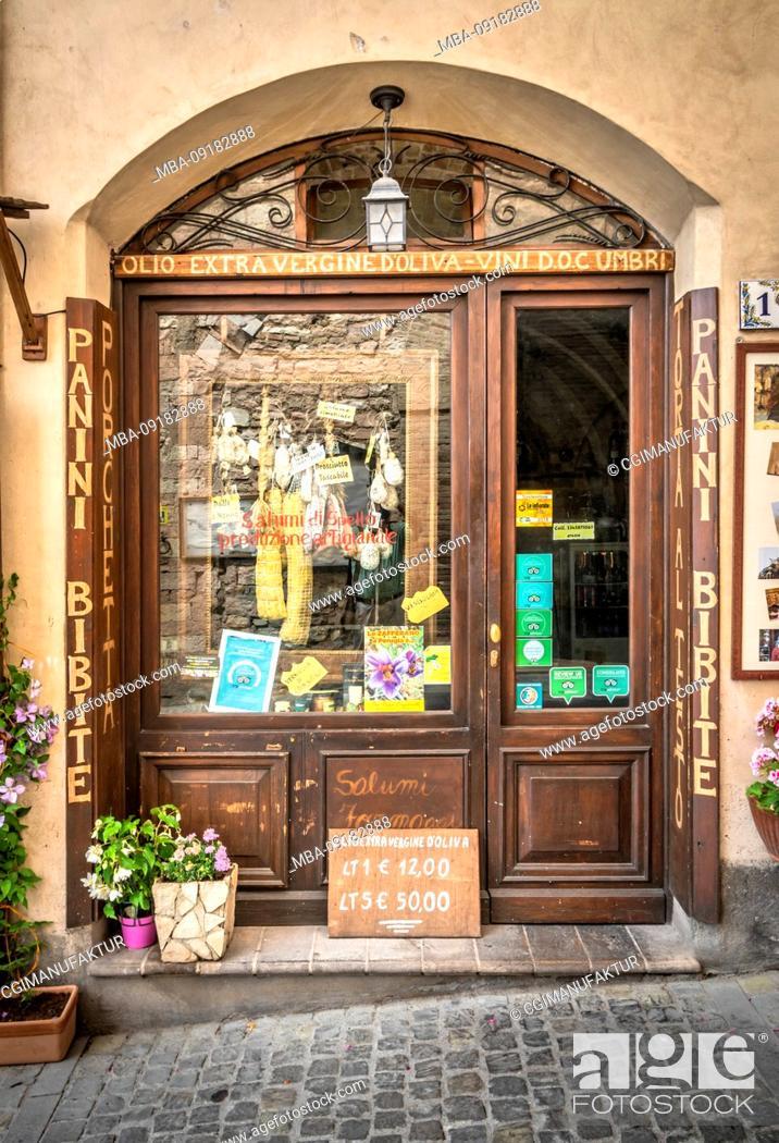 Stock Photo: Butcher's shop in Spello, province of Perugia, Umbria, Italy.