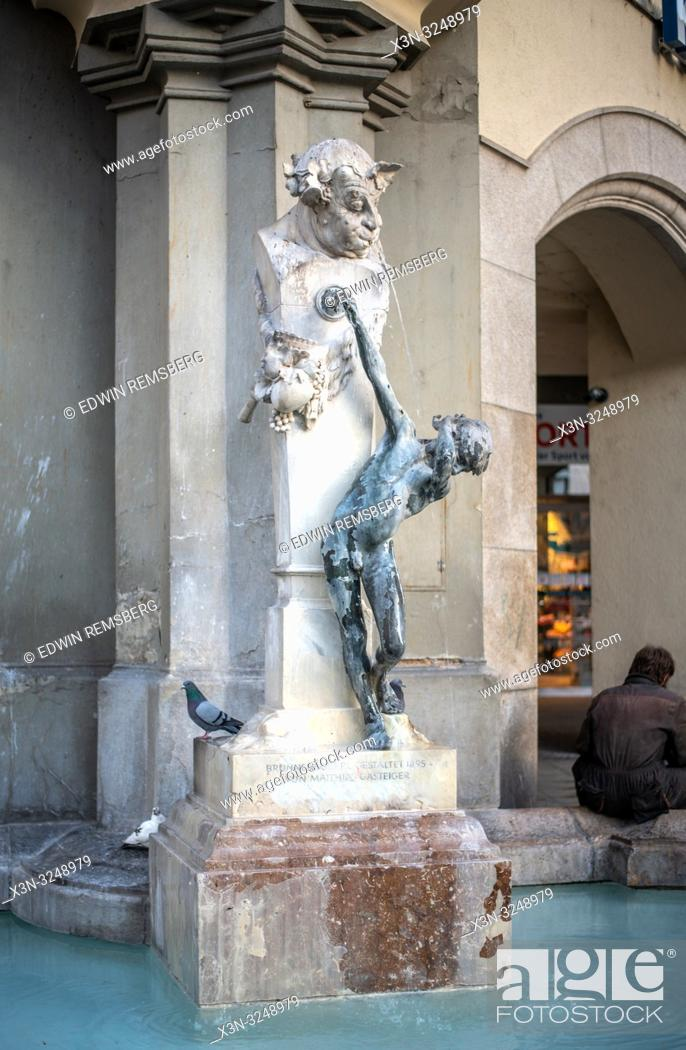 Stock Photo: A creative sculpture fountain at ratskeller in Munich, Germany.
