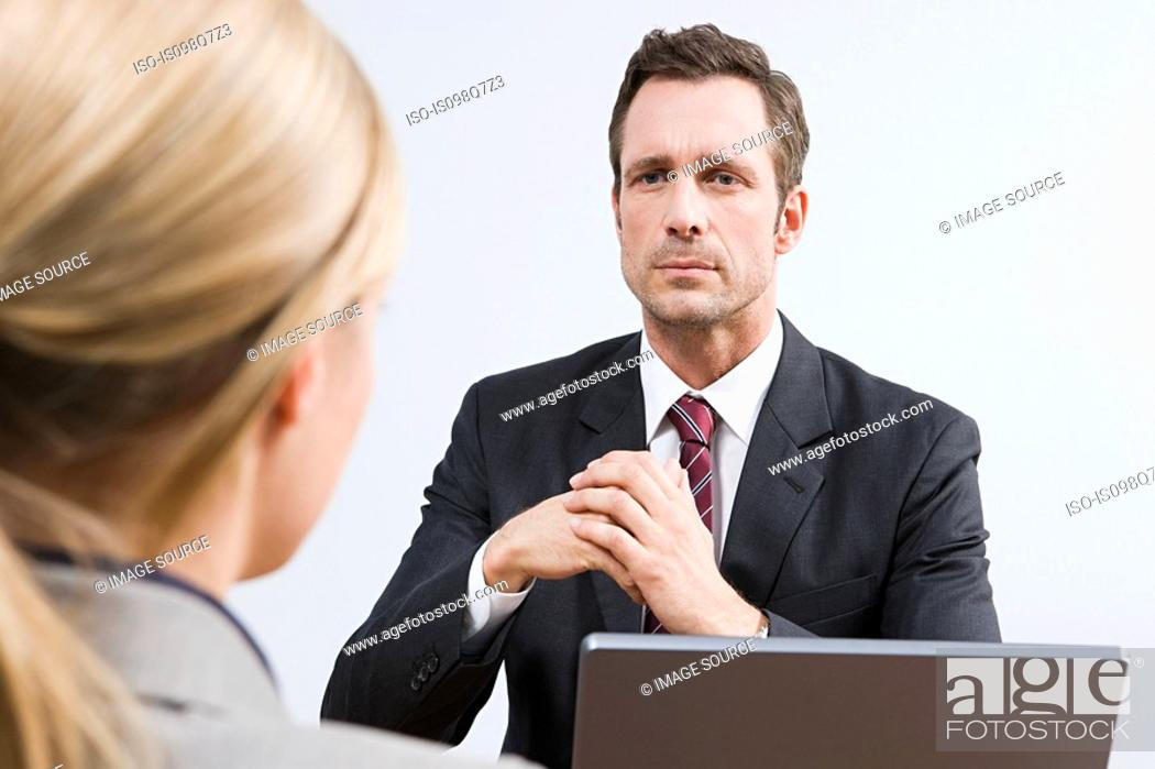 Stock Photo: Businessman and woman.