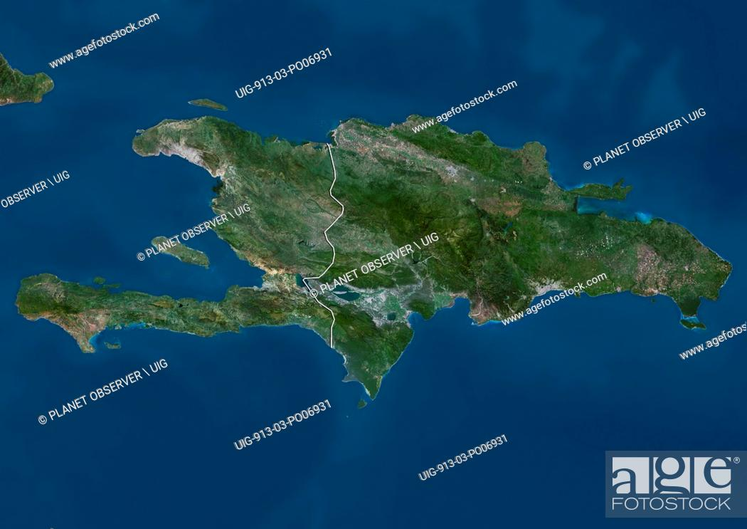 Imagen: Satellite view of Haiti and The Dominican Republic. This image was compiled from data acquired by Landsat satellites.