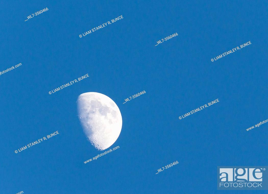 Stock Photo: Waxing Gibbous Moon against blue sky, taken from Hereford Herefordshire UK May 2020.